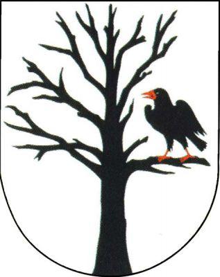 Ve stříbrném štítě vyrůstající černý strom bez listí, na jeho levé spodní větvi černý havran s červenou zbrojí.