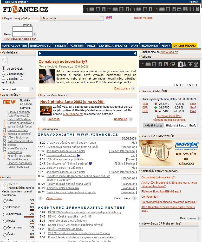Domovská stránka Finance.cz v roce 2003