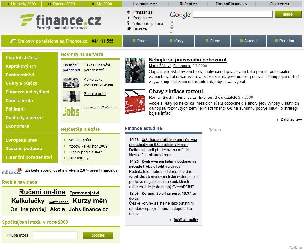 Domovská stránka Finance.cz v roce 2009