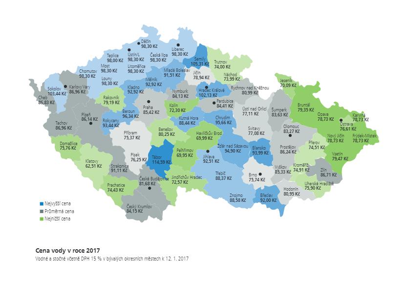 Cena vody v roce 2017, cenová mapa