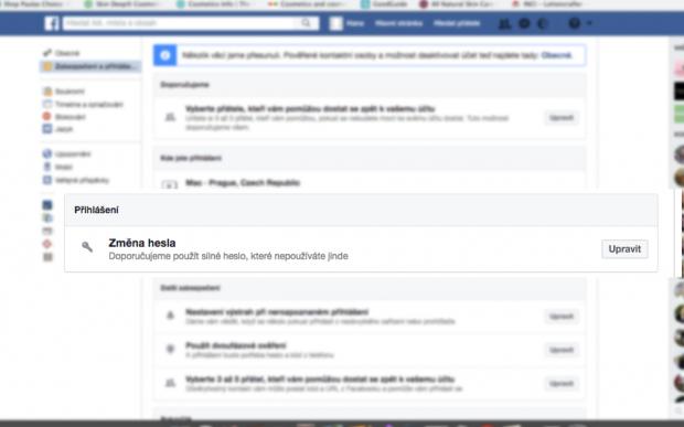 Blokace Facebook - ztracený telefon