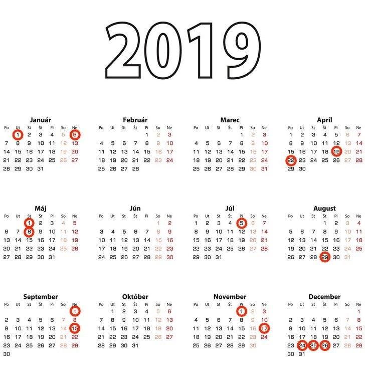 Kalendár sviatkov 2019