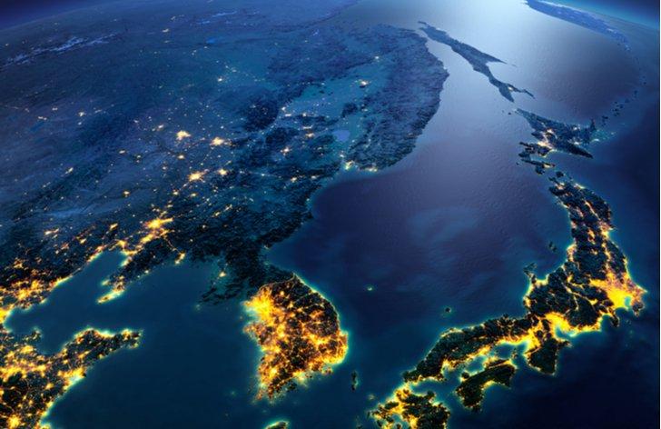 Severní a Jižní Korea z vesmíru