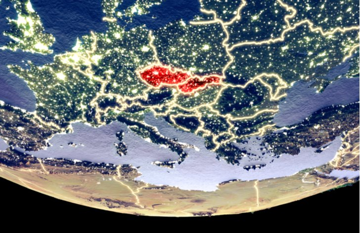 Česko a Slovensko na mapě Evropy