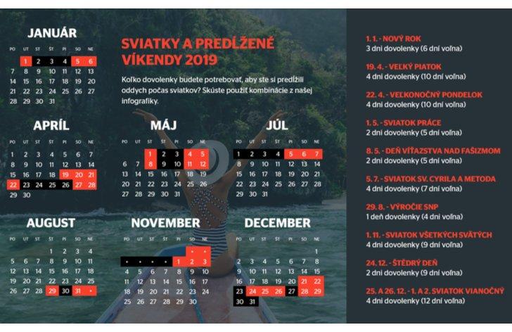 Ako si predĺžiť voľno počas sviatkov v roku 2019?