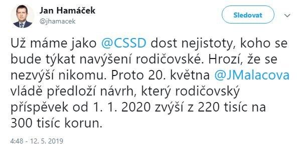 Ministr Hamáček ČSSD - růst rodičovského příspěvku