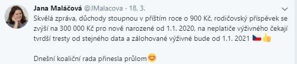 Jana Maláčová twitter