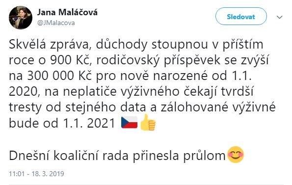 Ministryně Maláčová - růst rodičovského příspěvku