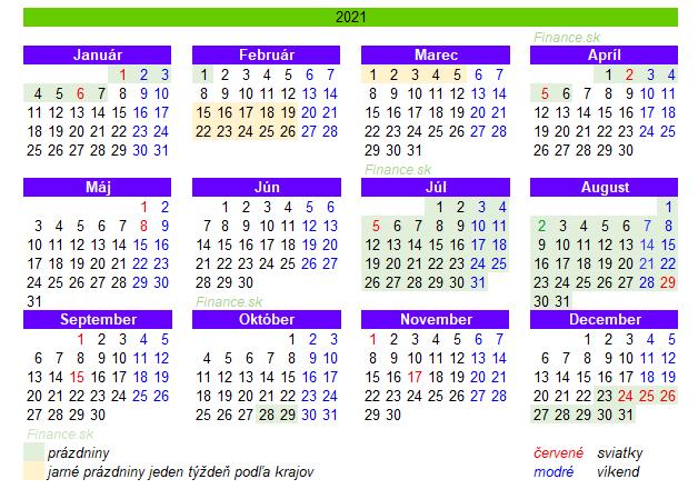 Kalendár sviatkov a prázdniny 2021