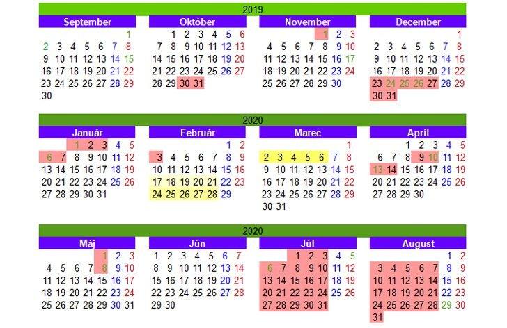 Prázdniny v školskom roku 2019/2020