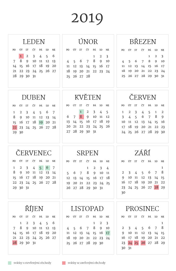 Přehled svátků 2019