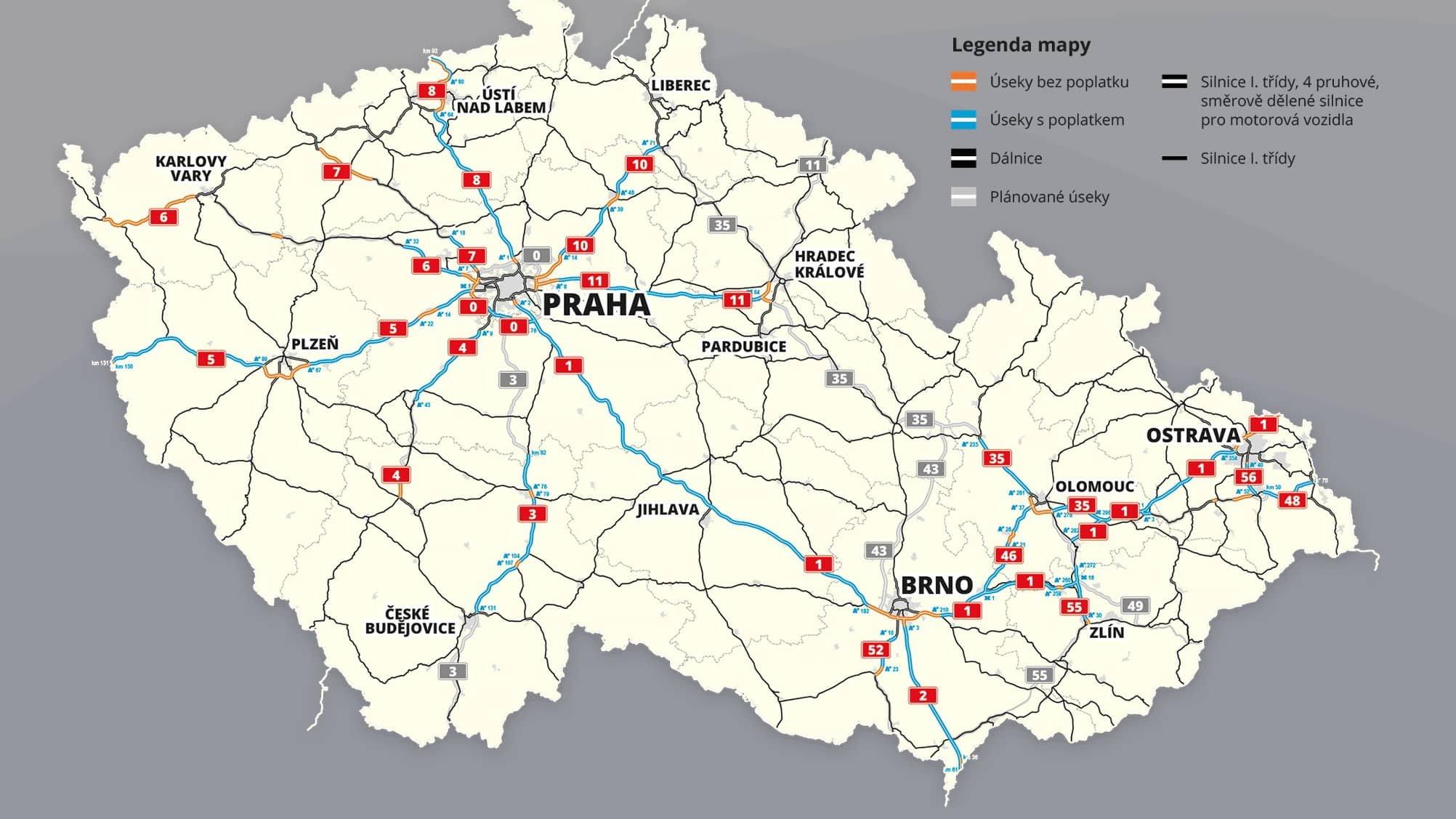 mapa dialnic v česku
