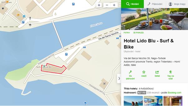 Rezervace ubytování přes Mapy.cz