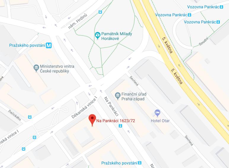 Mapa k Ministerstvu vnitra na Pankráci