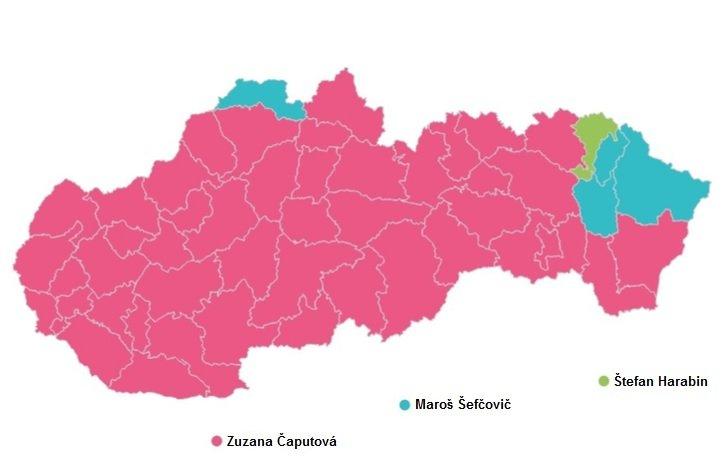 Výsledky 1. kola prezidentských volieb (územné obvody)