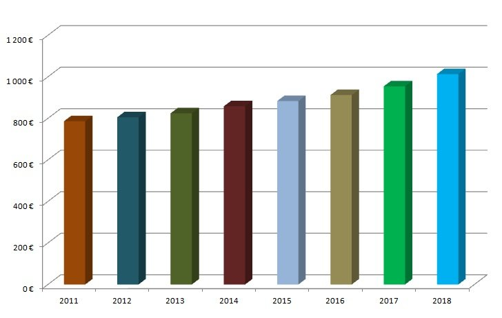 Vývoj priemernej mesačnej mzdy (2011 - 2018)