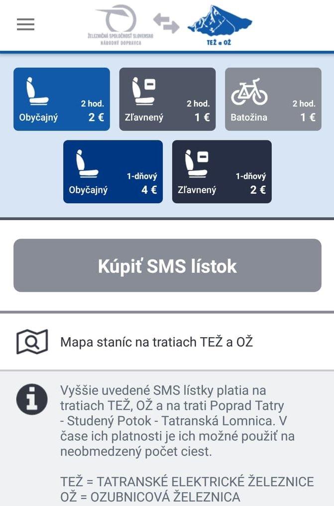 Postup kupovania tatranských SMS lístkov