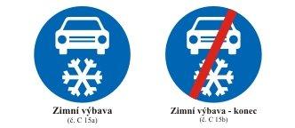 Značení úseků, kde je povinné přezout auto na zimní
